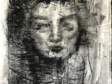 PORTRET ekspresyjny, prześcieradło, akryl, 150x80 (small)
