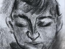 PORTRET ekspresyjny, węgiel, biały papier, A4 (small)